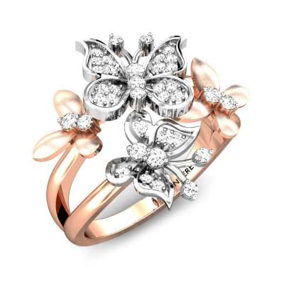 Orchid Butterfly Diamond Ring