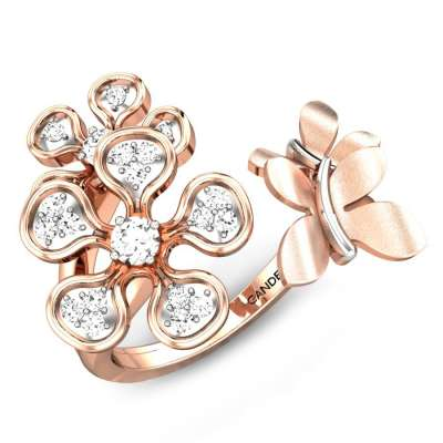Blossoms Butterfly Diamond Gap Ring