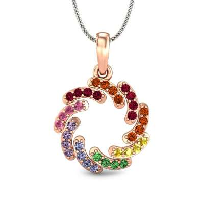 Colour Vortex Cubic Zirconia Gold Pendant