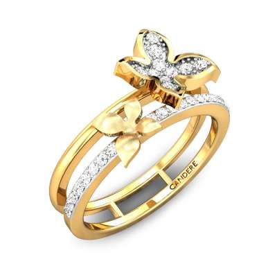 Flirty Duet Butterfly Diamond Ring
